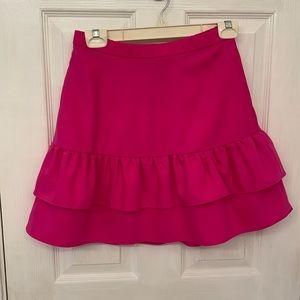 J Crew hot pink Ruffle skirt